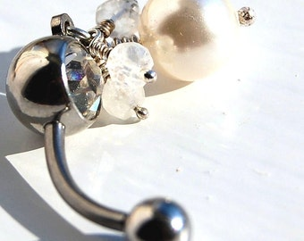 """Belly Ring /  Belly Jewelry / Swarovski Pearl and Moonstone / """"Breathless"""""""