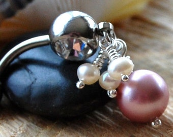 """Belly Ring /  Belly Jewelry /  Silver / Swarovski and Freshwater Pearls / """"Precious"""""""