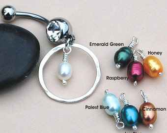 Belly Ring / Belly Jewelry / Sterling Silver Eternity Circle and Pearl  - Choose Your Pearl