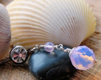 Opal Opalite Belly Ring / Dangle Belly Button Ring / Dangle Belly Jewelry / Belly Dance / Navel Ring / Body Jewelry / Pink Belly Ring