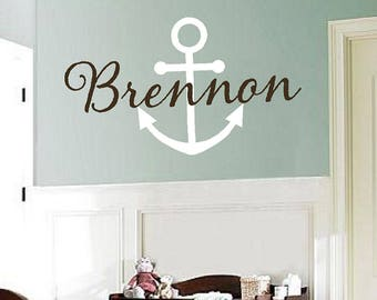 Anchor Decal with Name   Nautical Vinyl Wall Decal - Monogram Baby Boy or Teen Wall Decal with Boat Anchor fn0354