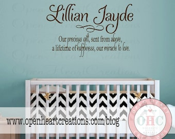 Baby Nursery Wall Sayings - Nursery Wall Quotes - Baby Name Vinyl Wall Decals BA0016  sc 1 st  Etsy & Sister Wall Decal Quotes Baby Nursery Twin Girls Teen Vinyl