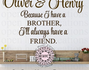 Brother Vinyl Wall Decal Quotes Because I Have A Brother Ill Etsy