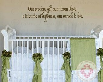 """Baby Quote Wall Decals - Our Precious Gift Sent From Above Vinyl Wall Saying for Baby Nursery Wall Lettering Decor 10""""H X 36""""W Ba0385"""