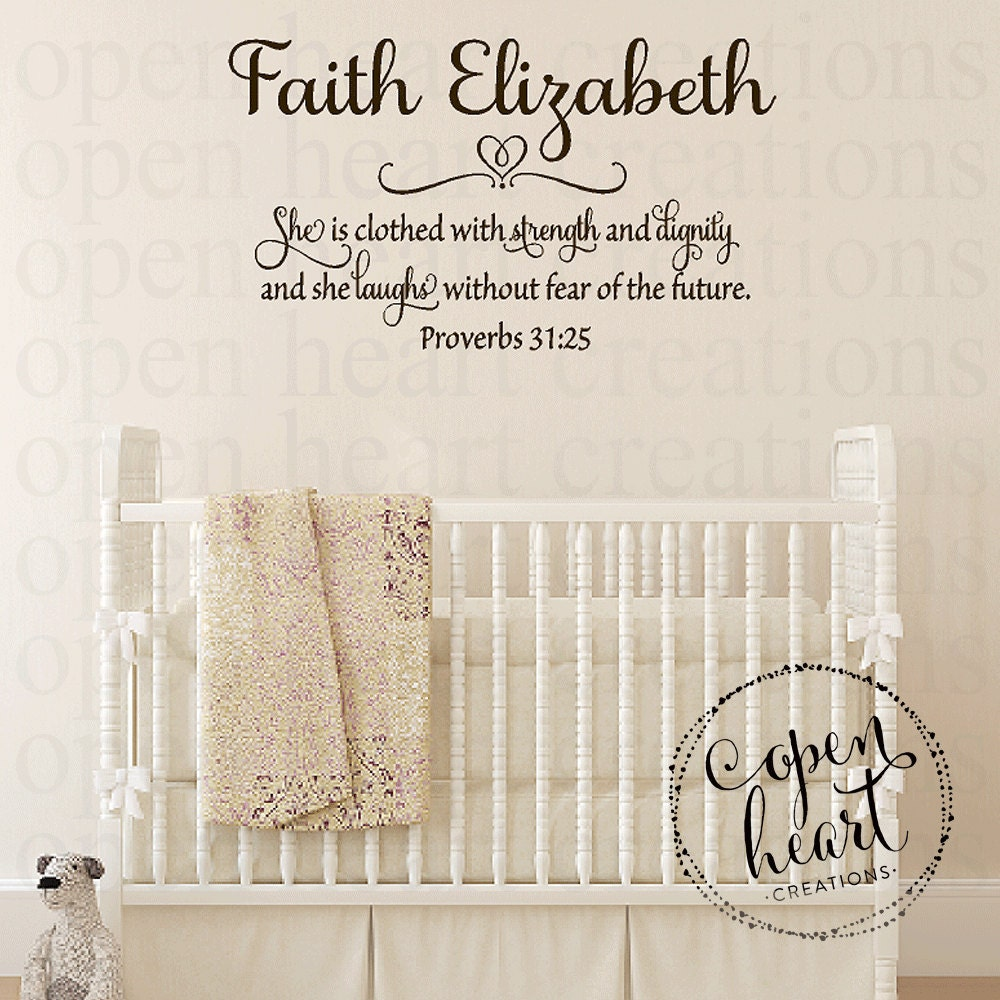 Dignity Wall: She Is Clothed In Strength And Dignity Vinyl Wall Decal
