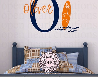 Surf Board Wall Decal with Initial and Name Monogram - Beach Surfer Kids Wall Art Vinyl Decal 22H x 32W INA0078