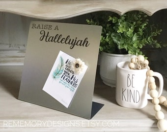 """Magnet Board, RAISE A HALLELUJAH, Dry Erase Board,  10"""" X 10"""", Farmhouse Magnetic Sign, Industrial Decor, Message Board"""