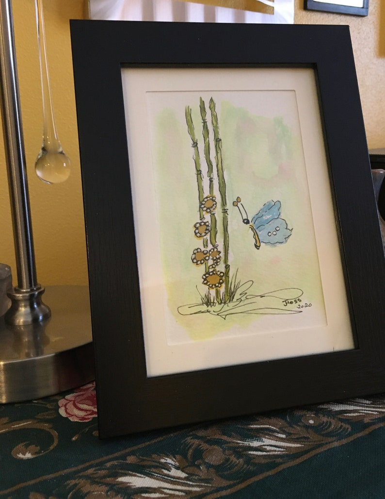 Original abstract watercolor and ink bamboo with flowers and butterfly one of a kind painting