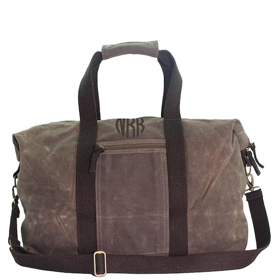 921115b8aab Olive Green Wax Canvas Duffle Bag Overnight Travel Bag   Etsy