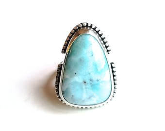 Larimar ring - light blue larimar and recycled sterling silver cocktail ring - OOAK