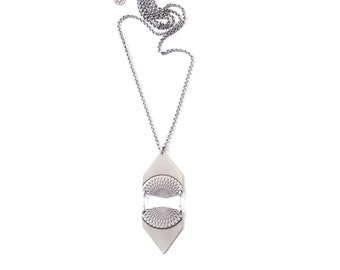 unique style Sterling silver bib style necklace inspired by Moroccan patterns and shapes with a modern spin Silver Soukaina Necklace