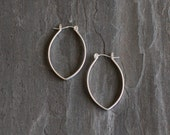 "Small modern silver earrings with a pointy hoop like lightweight design for everyday wear or casual occasion - ""Small Porter Hoops"""