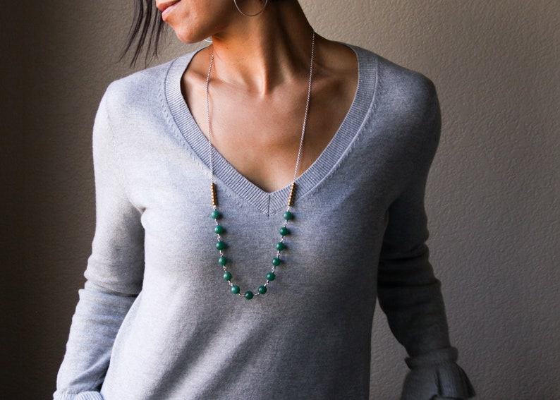 Tula necklace sterling silver and forest green chalcedony beads with a bright pairing of brass beads long length necklace