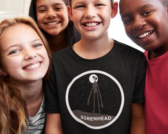 child Siren Head tshirt, Sirenhead moon art figure shirt, Siren Head fan, scp gaming boys unisex t-shirt gift toy sounds villain Gamer