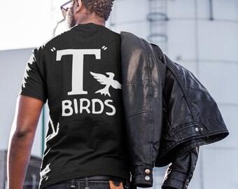 T Birds black shirt GREASER Shirt tee Tshirt black white lightning rocker 1950s 50s movie outfit S M L XL sock hop mens man dance music NEW