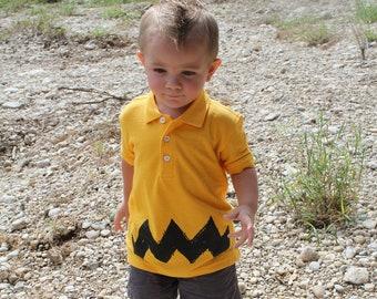 Retro NEW Charlie Halloween costume Zig Zag kids boys girls peanuts FUNNY brown gift Polo T-Shirt tshirt Teeshirt 2T 3T 4T youth xs s m l xl