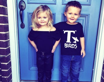 T Birds FRONT grease Costume Shirt tee Boys Infant Toddler Black Tshirt Halloween rocker 1950s movie 6M - youth XL sock hop dance musical