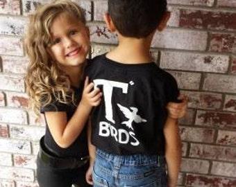 T Birds t-shirt child boys shirt Greaser Black Shirt Tshirt black lightning rocker 1950s 50s movie 18M to Youth XL sock hop dance music