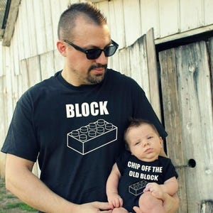 A Chip Off the Old Block Father and Son Matching Shirts for Fathers Day Gift.