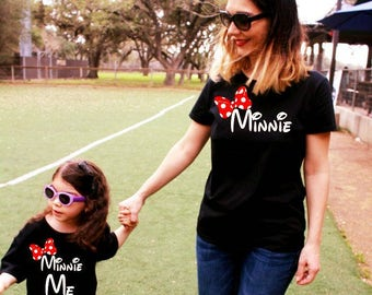 2 Shirts- disney fan Mommy and Me Minnie Shirts, family matching, Minnie Me, matching mother daughter outfit mickey mouse mama FREE SHIPPING