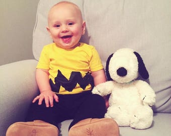 retro charlie shirt charlie halloween costume brown yellow black zig zag kids boy 6m 12m 18m 2t 3t 4t 56 7 toddler t shirt free shipping