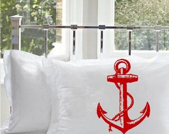 Red Ship's Anchor Cotton Pillowcase   Nautical Decor   Coastal Decor   Anchor Pillowcase   Cotton Pillowcase   Beach Decor   Anchor