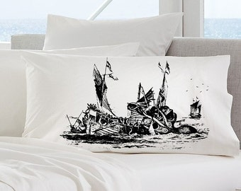 KRAKEN deep sea tales vintage OCTOPUS ship Ocean abyss gift decor black tentacles art punk pulp retro sailor squid Pillowcase pillow cover