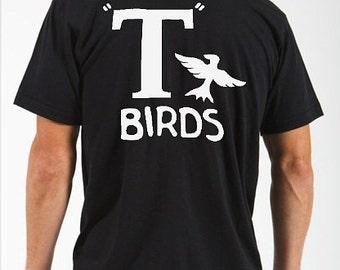 2xl  3xl T Birds black shirt GREASER Shirt tee Tshirt black lightning rocker 1950s 50s movie outfit sock hop white mens man dance music NEW