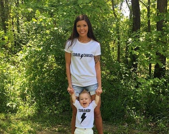 Mother Son / Mother Daughter Funny Shirt Set TORNADO and STORM Chaser ™ Mothers Day gift idea mommy and me ACDC shirt child mom Christmas