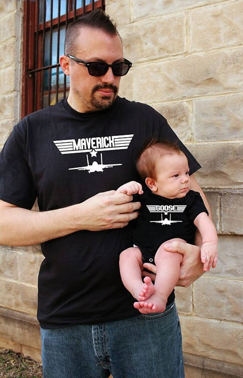 68876e47 Father Son Matching Shirts Maverick And Goose top gun | Etsy