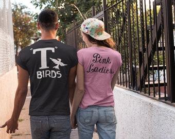 T Birds black shirt & Pink Ladies shirt Two Shirt Set   Sock Hop   Halloween Costume   Mens Shirt, Womens Shirt   Couples Costume