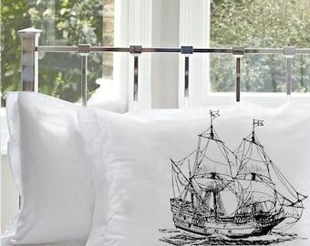 Black Ship Pillowcase   Man of War, Frigate, Galleon Sail Ship   Nautical Decor   Coastal Decor   Beach Decor   Boat Sailing pirate vessel
