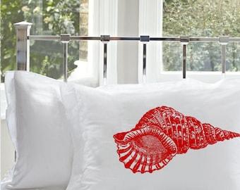 Red Red Conch Shell Nautical Pillowcase   Nautical Decor   Coastal Decor   Beach house vacation home bedding coastal nautical pillow cover