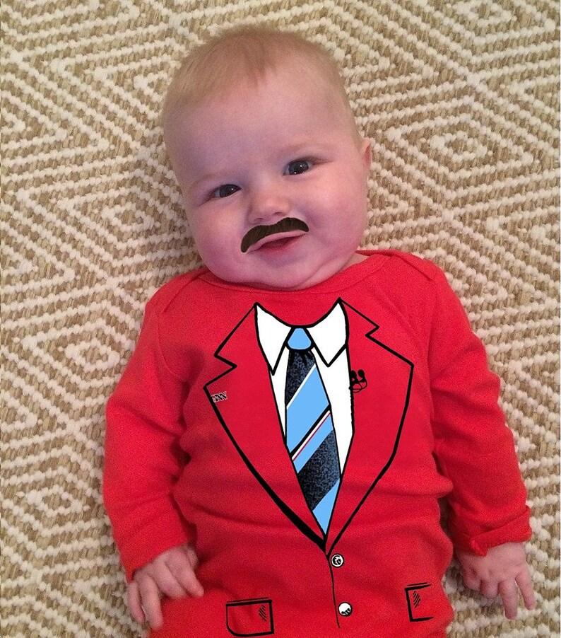 64bbb2cf811e Funny baby costume ron burgundy bodysuit wedding suit infant