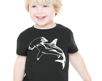 Hammerhead shark white black child boys girls youth toddler child shirt great maritime tee tshirt  XXS XS S M L XL 2t 3t 4t 5t 12 month 18