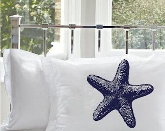 Nautical Navy Blue Starfish Pillowcase   Nautical Decor   Coastal Decor   Beach Decor   beach house Star Fish Pillow Case Cotton gift ideas