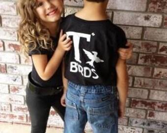 T Birds black shirt Greaser Boys Shirt tee Tshirt halloween costume shirt lightning rocker 1950s 50s movie 6M - Youth XL sock hop musical