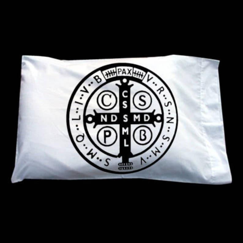 Catholic Catholic Prayer Benedict Saint Benedict Medal Pillowcase Sale One Prayer Pillow 1 St Cotton Pillowcase