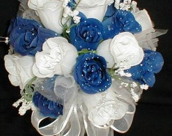 "10"" Round White & Royal Blue Rose Buds Bride/Bridal Bouquet.- Wedding -"