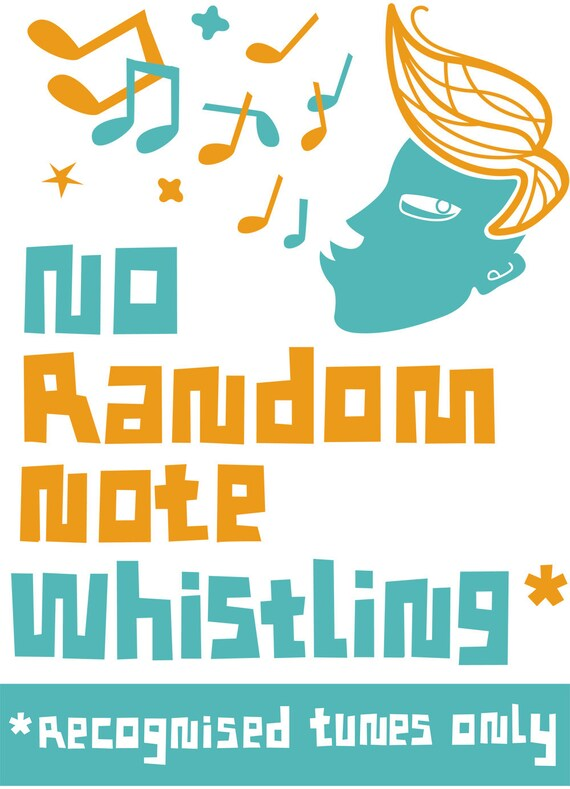 no random note whistling screen print by popcorny etsy