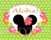 Diy Minnie Mouse Luau Party Sign Printable Birthday Decoration PDF Digital File INSTANT DOWNLOAD