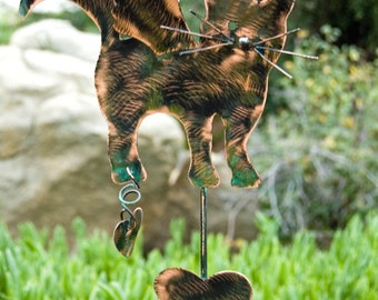 Cat Garden Marker Pet Memorial Lawn Ornament Plant Stake Metal Outdoor Yard Art Kitty Feline Silhouette Spike Copper Patina
