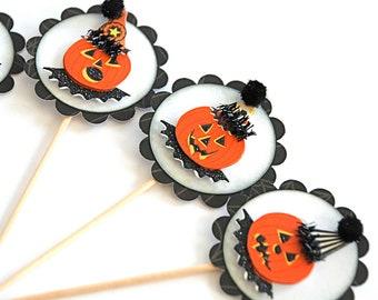 Nostalgic Halloween Cupcake Toppers, Rustic Halloween Jack O Lantern