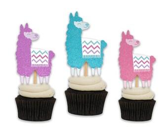 Big Glittery Llama Cupcake Toppers. Llama Birthday Party. Set of 12 Cupcake Decor. Llama Party Supplies.