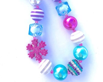 Pink snowflake Bubblegum bead necklace. Christmas. Winter. Girls necklace. Frozen princess. Gift for girls. Stocking stuffer. Holiday  jewel