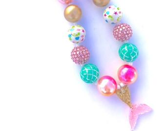 Mermaid tail necklace. Colorful bubblegum bead necklace. Mermaid party. Glitter jewelry. Gifts for girls. Summer fun. Beach. Pink aqua gold.