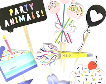 Party Animal Cake Toppers, Birthday Cupcake Toppers, Birthday Party Decor, Birthday Sticker Set