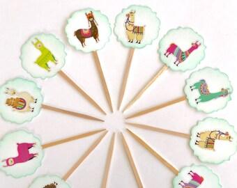 Llama Cupcake Toppers. Llama Baby Shower. Llama Birthday Party. Llamaste. Llama Party Supplies.