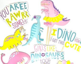 Dinosaur Cupcake Toppers. Girls Dinosaur Party. Dinosaur Party Decor. Dinosaur Sticker Set. Dino Birthday.