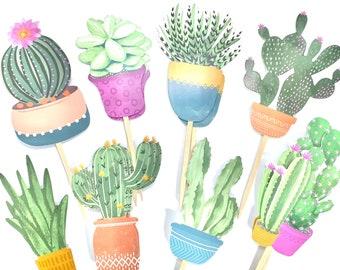 Succulent Cupcake Toppers, Boho Baby Shower, Succulent Party Decor, Succulent Shower, Succulent Sticker Set, Southwestern Theme Birthday